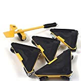 Heavy Duty Furniture Lifter with Triangle Moving Sliders Mover Tool Set Moving Appliance Roller Max Capability Load for 660lbs 5 Packs (Yellow)