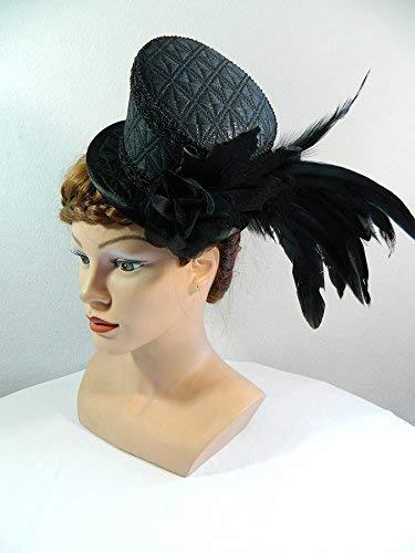 Midi Zylinder schwarz Federn Fascinator Damenhut Gothic Lolita Steampunk Fascinator Hut