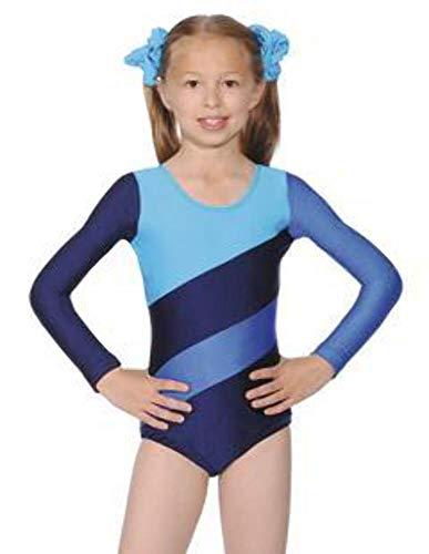 Maillot de tres tonos de Roch Valley, para gimnasia o danza, Niñas, color Navy/Kingfisher/Royal, tamaño 5-6 Años