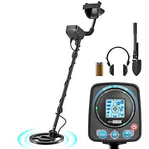 VIVOHOME Metal Detector Waterproof with Headphone Shovel for Adults Kids, Adjustable Length 41-52 inch, High Accuracy with a HD LCD Screen, Varied Smart Modes