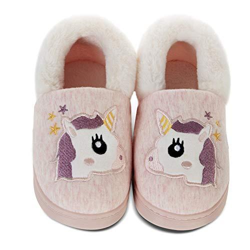 Jungen Mädchen Hausschuhe Winter Plüsch-Hausschuhe für Kinder Kuschel Unicorn Warme Flauschige Antirutsch Sohle(Dujiao Rosa,24/25EU)