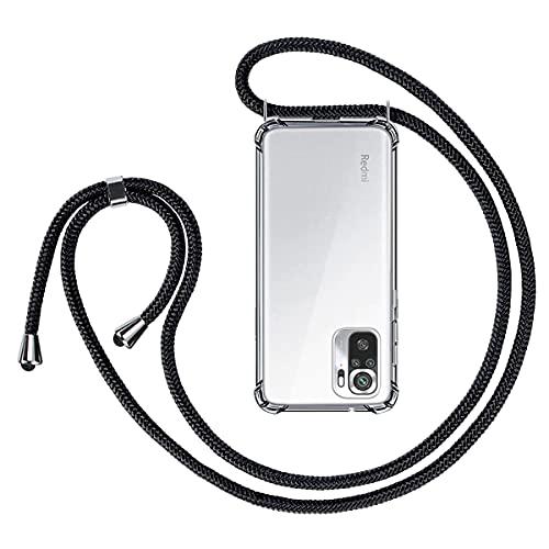 Kokio Funda con Cuerda para Xiaomi Redmi Note 10 4G/Redmi Note 10S 6.43' Carcasa Transparente Suave Silicona PC Case con Negro Colgante Cordón Colgar Collar Correa de Cuello Cadena Cordón Fundas
