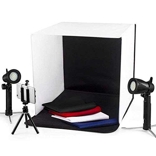 """Photo Light Box Photography ESDDI 16""""x16""""/40x40cm Photo Studio Booth Portable Table Top Lighting Shooting Tent Kit Foldable Cube with 2x20 LED Lights 4 Color Backdrop for Jewellery Product Advertising"""