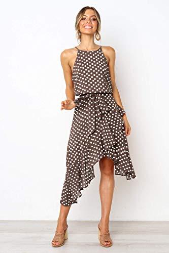 Ts Dress Casual Onregelmatige Polka Dot Wikkeljurk Vrouwen zomerjurkjes for vrouwen zich te kleden (Color : A02, Size : L)