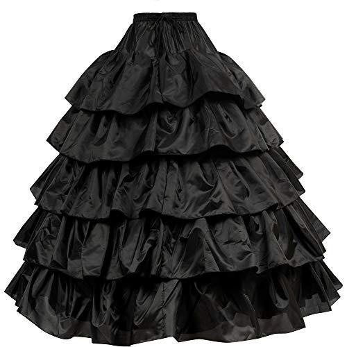 LONGBLE Reifrock Brautkleid Petticoat Unterrock, 5 Rüschen Krinoline - 4 Ring verstellbar Underskirt Damen lang Unterröcke für Hochzeitskleider Ballkleider Abendkleider Brautkleider Promkleider