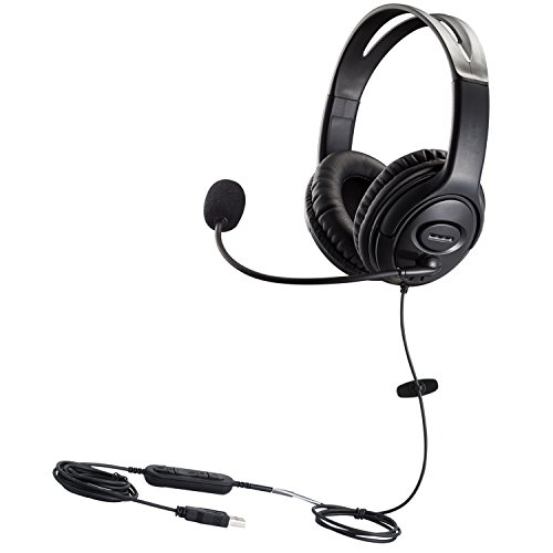 USB Headset with Microphone Dual Ear Computer Headphone with Speech Recognition Volume Control for Skype Chat Call Center Softphones Online Courses Gaming