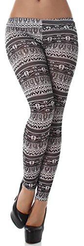 Unbekannt Q.A. Damen Leggings lang in verschiedenen Designvarianten, schwarz Muster Größe 38-42