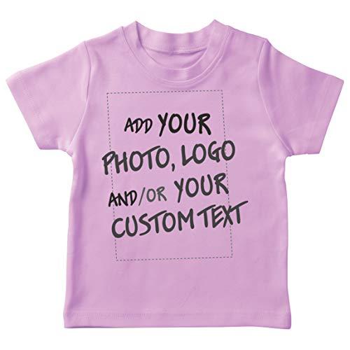 lepni.me Camiseta para Niño/Niña Regalo Personalizado, Agregar Logotipo de la Compañía, Diseño Propio o Foto (12-13 Years Rosado Multicolor)