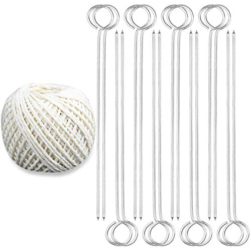 Poualss 17pcs Poultry Lacing Kit, 7 Inches Turkey Lacers, Stainless Steel Skewers for Roasting Trussing and Cotton Twine for Cooking Trussing Turkey and Poultry