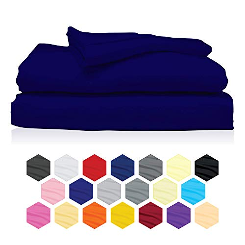 Rockfields Fitted Sheets, Dyed Solid Colour Fitted Sheet Depth 25cm-9.8in, Polycotton Fitted Sheet Double, Fitted Bed Sheets (4FT Small Double, Single, Double, King, Super King) (Royal Blue, Single)