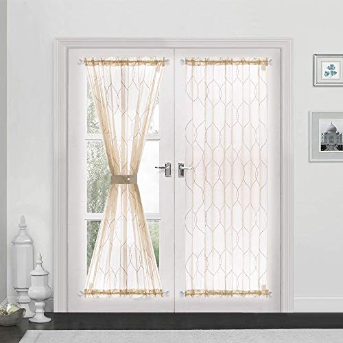 """Sheer French Door Curtains Moroccan Tile Embroidered Sheer French Door Curtain 1 Panel 72"""" L, Taupe"""