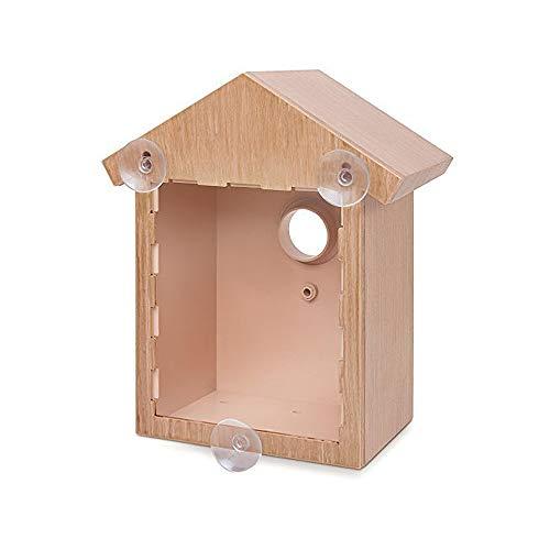 Wildvogelbeobachtung Nistkasten Set Vogelhaus Kit mit Spionagefenster und Einwegspiegel Folie Kunststoffhaus mit Holzoptik Design