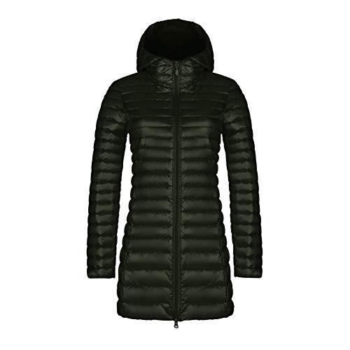 CHIYEEE Packbar Daunenjacke Damen Kapuze Ultra Leichtgewicht Langer Winter Kugelmantel mit Handgepäck Armeegrün XXXL
