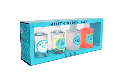 Malfy Gin Miniaturen – Premium Gin aus Italien im Geschenkset – Hochprozentiger Alkohol mit 41 % Vol – 4 x 0,05L