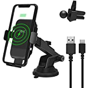AHK Wireless Car Charger Mount, One Touch Automatic Clamping Qi 10W Fast Charging, Windshield Dashboard Air Vent Phone Holder Compatible with iPhone Xs Max XR 8 Plus, Samsung S10 S9 S8,etc (Black)