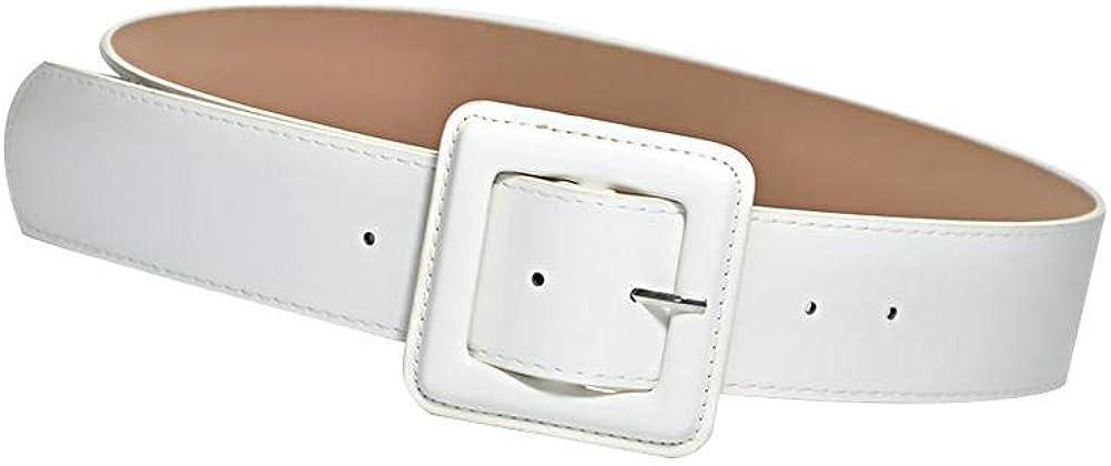 Leono Women's Leather Belt Skinny Ladies Belt Adjustable Waist Wide Belt for Dress Jean Pant