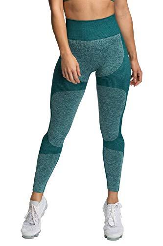 Pau1Hami1ton Sin Costura Leggins Mujer, Mallas Fitness Push Up Pantalones Deporte Running Yoga GP-15(Green,M)