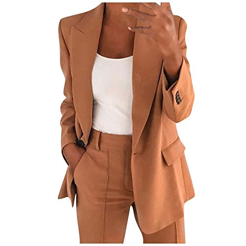 Buetory Womens Casual Blazers Long Sleeve Open Front Work Office Stretchy Suit Jackets Cardigans Coats Plus Size(Brown,X-Large)