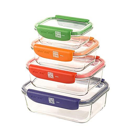 Mastrad Stor'eat Glasboxen - Innovative Aufbewahrungsboxen mit Handy-App - Lebensmittel Behälter mit abnehmbaren Griffen - spülmaschinenfest - Frischhaltedosen für Aufbewahrung von Gütern