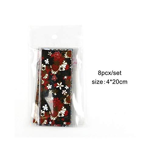 SSGLOVELIN 8pcs Holographic Ongles Nail Art Stickers Foils FlowerTransfer Papier Autocollant Nail Foil Colle Nail Decoration Roman et Beau (Color : 8pcs)