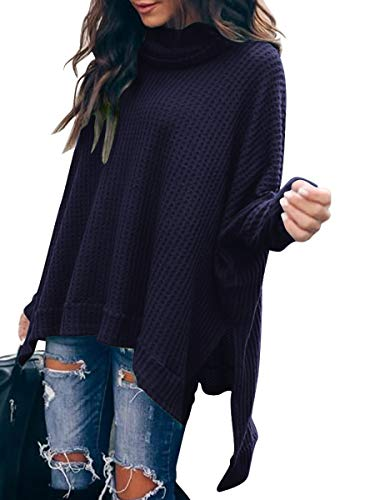 ANRABESS Women Turtle Cowl Neck Long Batwing Sleeve Waffle Knit Pullover Sweaters Oversized Loose Fit High Low Tunic Tops A83zangqing-S Navyblue