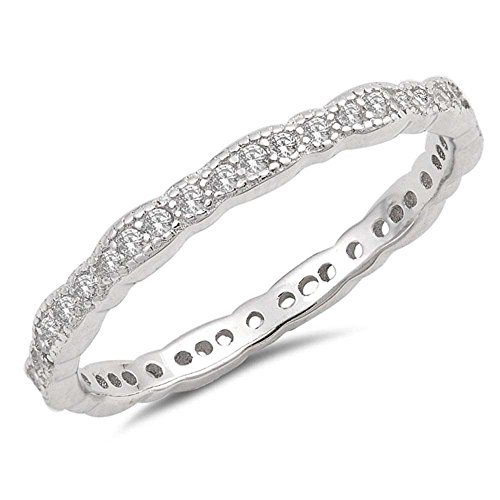 Oxford Diamond Co Sterling Silver Antique Style Stackable Wedding Band Ring Sizes 6