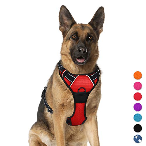 BARKBAY No Pull Dog Harness Large Step in Reflective Dog Harness with Front Clip and Easy Control Handle for Walking Training Running(Red,XL)