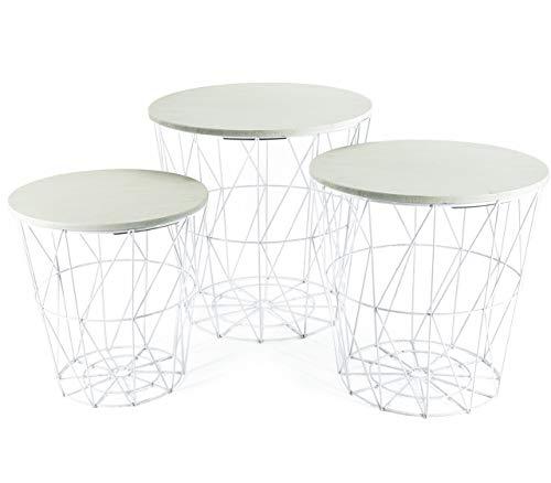 Bada Bing 3er Set Metall Korb Beistelltisch Weiß Mit Weißer Tischplatte Metallkorb Couchtisch Kaffeetisch Wohnzimmertisch Modern Rund Design Tisch 3 Größen 98W