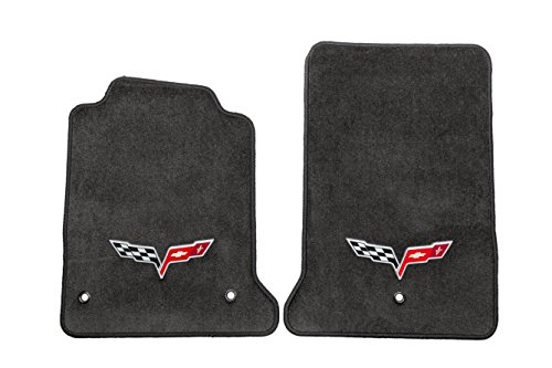 GM # 19172504 Floor Mats - Front Premium Carpet Set - Ebony with Corvette Crossed-Flag Logo