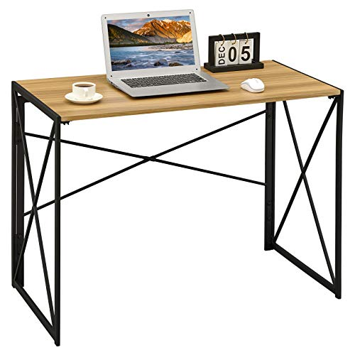 Coavas Folding Utility Table Computer-Desk No-Assembly Simple Study Desk Space-Saving Desk for Home Office 100x50x72 cm Natural Wood