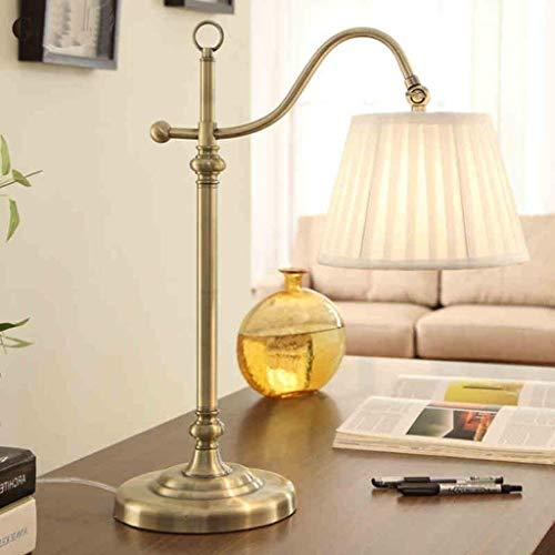LXGANG Lámpara de escritorio Lámparas de mesa, personalidad simple estadounidense creativa lámpara de escritorio, iluminación de la oficina de cobre retro completa ajustable Lámparas luces pantalla de