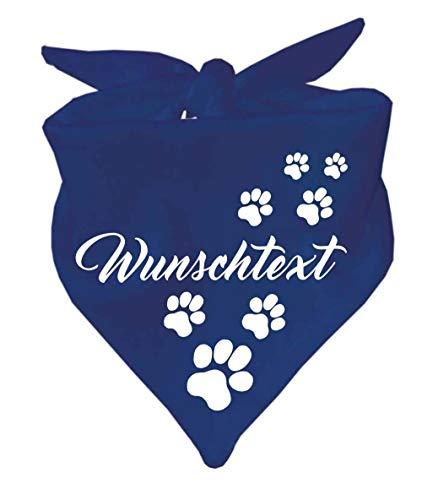 KLEINER FRATZ Hunde Dreiecks Halstuch (Fb: Navy) (Gr. 2 (68 cm)) mit Ihrem Wunschtext