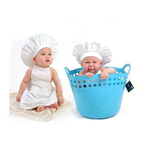 Accesorios para fotos para bebés – Lindo Uniforme de cocinero blanco con gorro para recién nacidos, niñas y niños