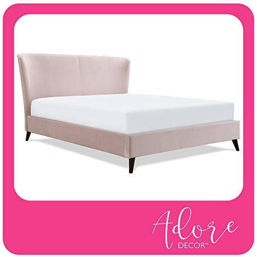Adore Decor Adele Wingback Upholstered Platform Bed, Plush Velvet Fabric Curved Tall Headboard and Padded Frame, Classic Solid Wood Legs, Queen Size, Blush Pink