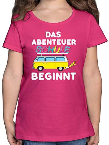 Einschulung und Schulanfang - Das Abenteuer Schule beginnt Schulbus - 128 (7/8 Jahre) - Fuchsia - t-Shirt vw-Bus - F131K - Mädchen Kinder T-Shirt