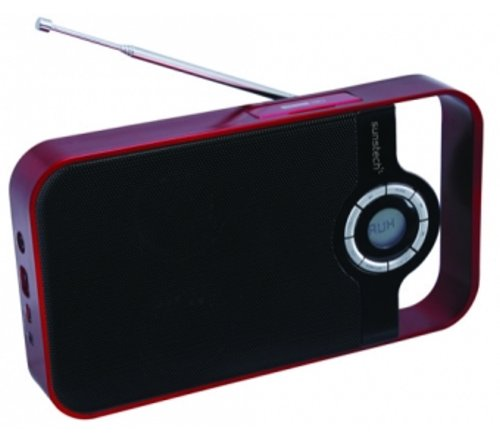 Sunstech RPDS250RD - Radio portátil digital, USB, lector tarjetas, color rojo