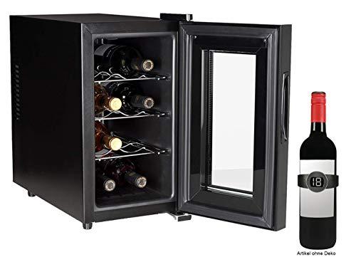 Schmaler WEINKÜHLSCHRANK für 8 Flaschen mit WEINTHERMOMETER - Weinklimaschrank 21 Liter, LED Anzeige & Touchfunktion