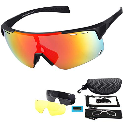 V VILISUN Gafas Deportivas Polarizadas con Protección UV400 con 4 Lentes Intercambiables Gafas De Ciclismo Mujeres Hombres para Deportes Al Aire Libre Ciclismo Motociclismo Correr Pesca Golf