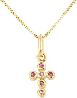 forme di Lucchetta per Donna - Collana Croce con Zaffiro Rosa in Oro Giallo 18 carati - Catenina d'Oro 45cm - Made in Ital...
