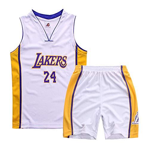Lakers Bryant 24 - Gilet da basket per bambini e bambine, completo completo di gilet da basket, camicia ricamata estiva, età 2-14 anni, 123, bianco, XXL
