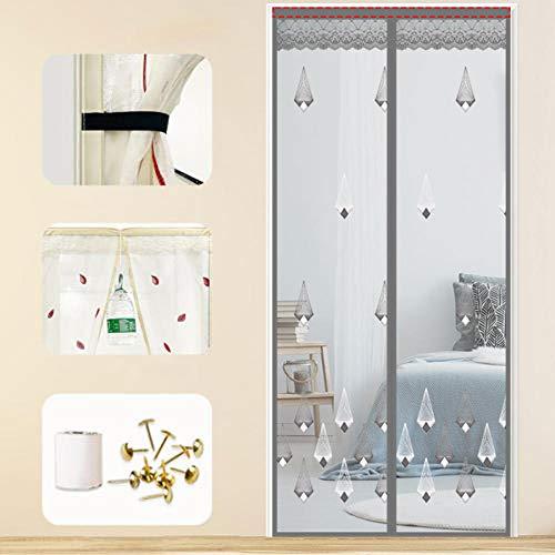 Xervg Moskitonetz Erweitern Sie die Türvorhänge gegen Mücken, ohne zu schlagen-180 * 220 cm_Silber