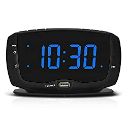 DreamSky Alarm Clock Radio with Dual USB Charging Port,1.4 Inches Clear Readout, Lightweight Alarm Clock for Bedrooms, Digital Clocks with Snooze and Dimmer Setting, DST.