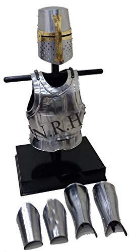 Réplica náutica Hub Medieval Caballero Templario, protector de brazos y piernas, chamarra de pecho, armadura corporal