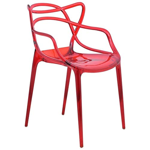Unknown1 Red Intertwined Design Dining Side Chair Mid-Century Modern Contemporary Plastic Glossy