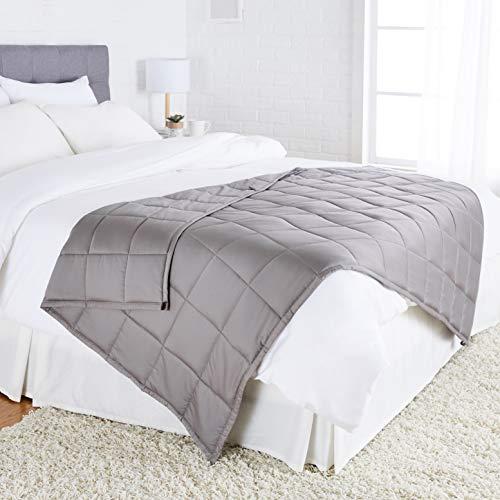 Amazon Basics - Manta de algodón con peso, para todas las estaciones, 9kg, 120cm x 180cm (individual), gris oscuro