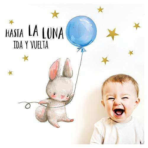 Little Deco muursticker babykamer haas & spreuk Hasta La Luna I 76 x 40 cm (B x H) I luchtballon BAU kinderfoto's decoratie kinderkamer jongens sticker DL260