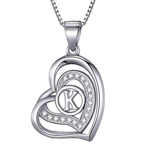 Morella® Damen Halskette Herz Buchstabe K 925 Silber rhodiniert mit Zirkoniasteinen weiß 46 cm