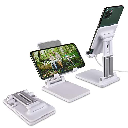 Universal Cell Phone Stand, Foldable Tablet Holder, Dual Alloy Support Rods,Multiple Height&Angle Adjustment,Suitable for 4-12.9 Inch Devices,iPhone/iPad/Kindle/Android Phones/eBook Reader - (White)