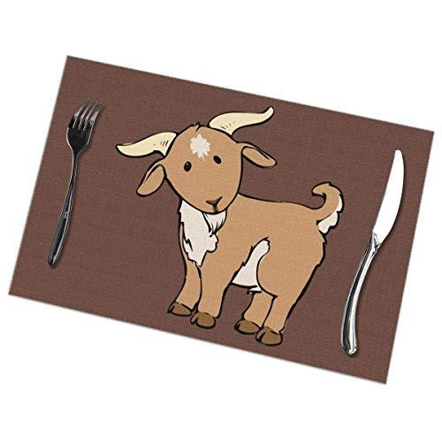 Manteles Individuales de Dibujos Animados de Cabra para Mesa de Comedor Juego de 6 tapetes de Mesa de Cocina