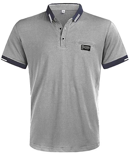 Kuson Herren Shirt Polo Kurzarmshirt Polohemden Baumwolle Sommer T-Shirt Men's Polo Shirt (XL, Grau)